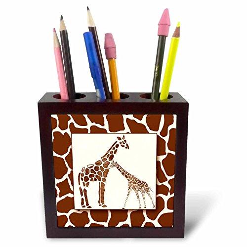 3dRose Two Watercolor with Giraffe Animal Print Jungle Safari Theme Tile Pen Holder, 5
