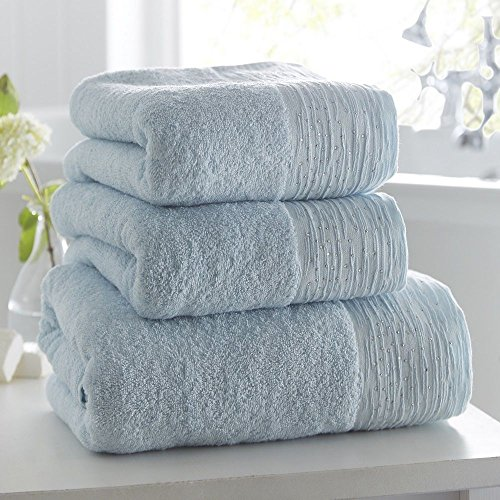 Portfolio 100% Cotton Luxury Soft Towel with Diamante Glitter Border Duck Egg Blue Bath Towel