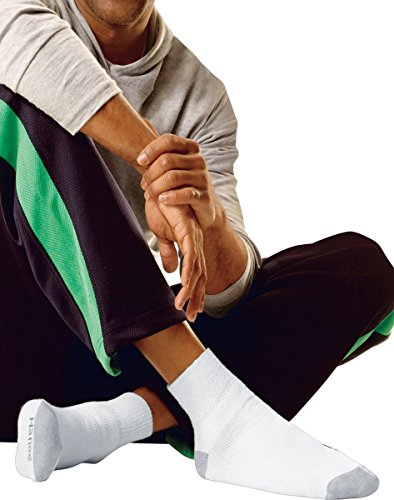 Hanes Men's Big & Tall Cushion Ankle Socks 6-Pack, White, 12-14