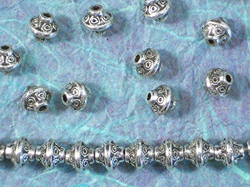 (Pendant Jewelry Making 25 Fancy Bicone Beads Silver Tone Saucer Spacers 7mm Hill Tribes Style)