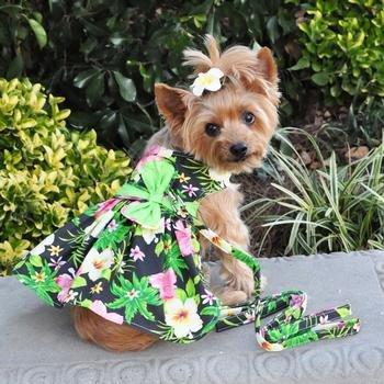 Twilight Black Hawaiian Hibiscus Dog Dress with Matching Leash (Medium)