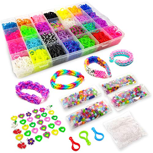 11950+ Colorful Bands Mega Refill Loom Kit - Rubber Band Bracelet Kit - 10500 Premium Crazy Loom Rubber Bands, 30 Charms, 5 Hooks, 250 Beads, 550 Clips - DIY Crafts Making Bracelets 42 Colors ()