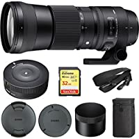 Sigma 150-600mm F5-6.3 DG OS HSM Zoom Lens Contemporary for Canon DSLR Cameras (745-101) with Sigma USB Dock for Canon Lens & Lexar 32GB Professional 1000x SDHC Class 10 UHS-II Memory Card