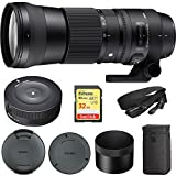 Sigma 150-600mm F5-6.3 DG OS HSM Zoom Lens Contemporary for Canon DSLR Cameras (745-101) with Sigma USB Dock for Canon Lens & Sandisk Extreme Extreme PRO SDXC 32GB UHS-1 Memory Card
