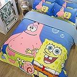 XLST 3D Print Spongebob Pattern Duvet Cover Set, for Teenagers, Kids Cartoon Anime 3 Pcs Pillowcase Set,Twin