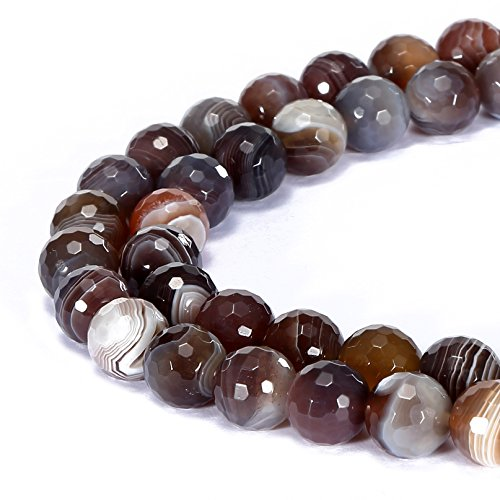 (BRCbeads Gorgeous Natural Brown Botswana Agate Gemstone Faceted Round Loose Beads 6mm Approxi 15.5 inch 58pcs 1 Strand per Bag for Jewelry)