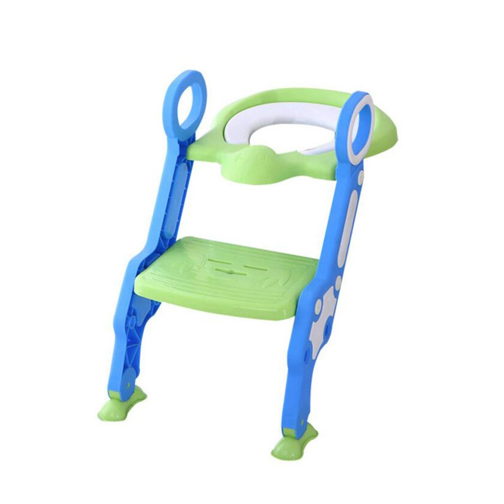 JUNBOSI Children's Toddler Potty Training Toilet Ladder Seat Steps Assistant Potty Homeself Potty Training Seat For Boys And Girls,Removable Easy Clean (Color : Green)