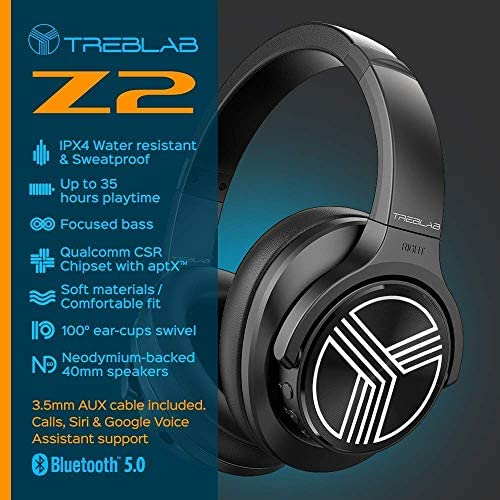 TREBLAB Z2 | Over Ear Workout Headphones with Microphone | Bluetooth 5.0, Active Noise Cancelling (ANC) | Up to 35H Battery Life | Wireless Headphones for Sport, Workout, Running, Gym (Black) 51183RXY SL