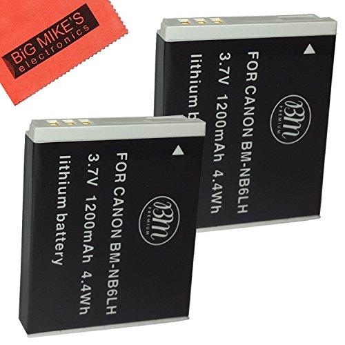 BM Premium Pack Of 2 NB6L, NB-6L, NB-6LH Batteries For Canon PowerShot S120, SX170 IS, SX260 HS, SX280 HS, SX500 IS, SX510 HS, SX520 HS, SX530 HS, SX540 HS, SX600 HS, SX610 HS, SX700 HS, SX710 HS, ELP