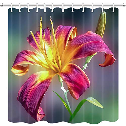 KOTOM Floral Shower Curtain, Bright-Colored Greenish Lily Flower, Polyester Fabric Waterproof Bath Curtain for Bathroom, 69X70in, Bath Accessories 12 Hooks Included