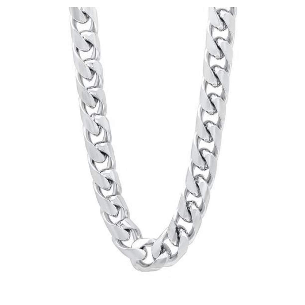 Verona Jewelers 925 Sterling Silver Solid 9MM Curb Cuban Link Chain Necklace for Men- Cuban Link Chain for Men, Thick Silver Necklace for Men (28) by Verona Jewelers (Image #1)