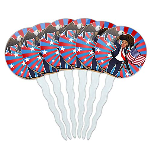 GRAPHICS & MORE Patriotic Donald Trump with Eagle American Flag Gun Cupcake Picks Toppers Decoration Set of 6