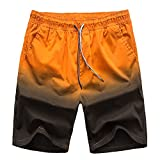 Pickin 2018 New Summer Men's Loose Casual Shorts Gradient Color Couple Beach Pants,Orange,2XL