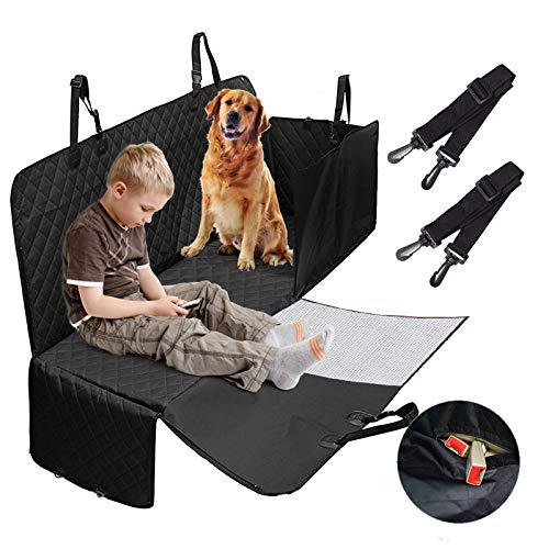 Pet Dog Seat Covers with Mesh Window, Waterproof Dog Back Seat Cover for Cars Trucks and SUVs, Nonslip Dog Car Seat Cover Hammock, Washable Zipper Dog Hammock for Cars Trucks SUVs Backseat Cover (Peanut Cover Car Seat)