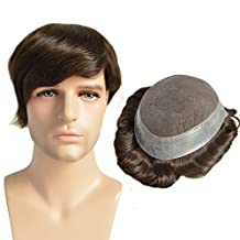 AIRAO Toupee Hairpiece Replacement Men Wigs Swiss Lace and PU Perimeter - Indian Human Virgin Hair Extension Free Tangle #2(Darkest Brown)
