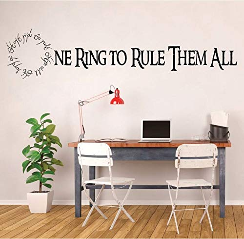BYRON HOYLE Lord of The Ring - LOTR Wall Decor - One Ring to Rule Them All- with Elvish Quote - Vinyl Decal for Home Decoration, Bedroom, Classroom
