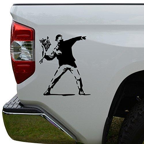 - WenNuNa Rage The Flower Thrower Banksy Street Artist Die Cut Vinyl Decal Laptop Car Truck Bumper Window Sticker