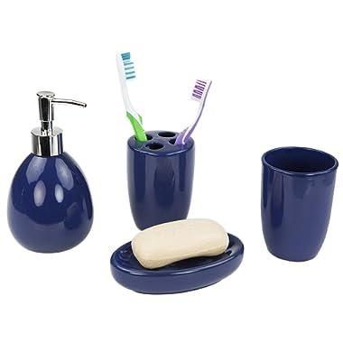 Home Basics 4 Piece Bath Bathroom Accessory Set (Navy)
