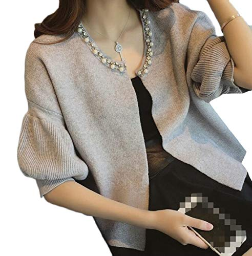 - Etecredpow Womens Casual Open Front Beaded Knits Puff Sleeve Cardigans Light Gray X-Large