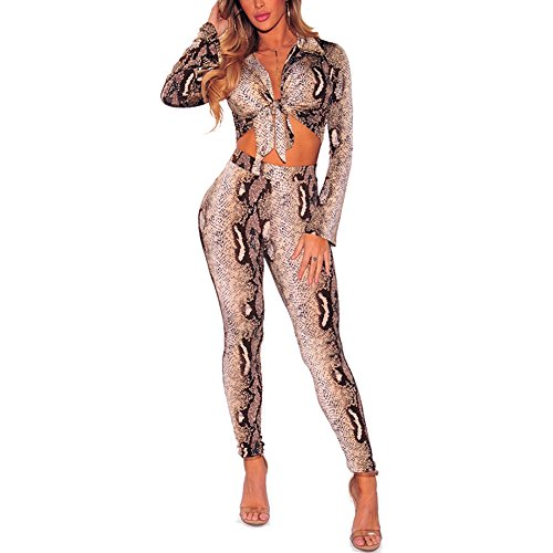 Galleon - Metup Women 2 Piece Pants Set Tie Knot Front Crop Top With Skinny  Legging Pants Outfits Snake Skin M d65e83a29e