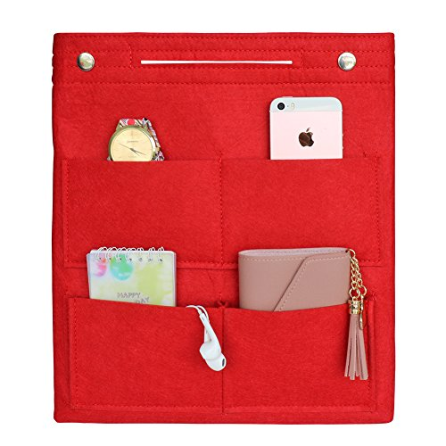 VANCORE Long Large Felt Insert Purse Organizer Handbag Cosmetic Travel Bag for Women (Red) by VANCORE