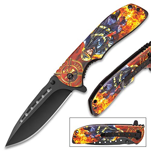 Rescue Bravo Knife (K EXCLUSIVE Backdraft Assisted Opening Pocket Knife - Stainless Steel Blade, Aluminum Handle, 3D Artwork, Assisted Opening, Pocket Clip)