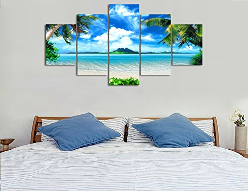 Yatsen Bridge Modern Landscape Beach Ocean Painting on Canvas 5 Piece, HD Print Pictures Wall Art for Living Room Home Decor Wooden Framed Stretched Ready to Hang
