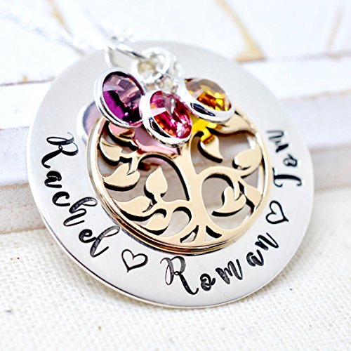 Personalized Bronze Tree of Life Birthstone Necklace - Mothers Day Gift for Grandma, Sterling Silver
