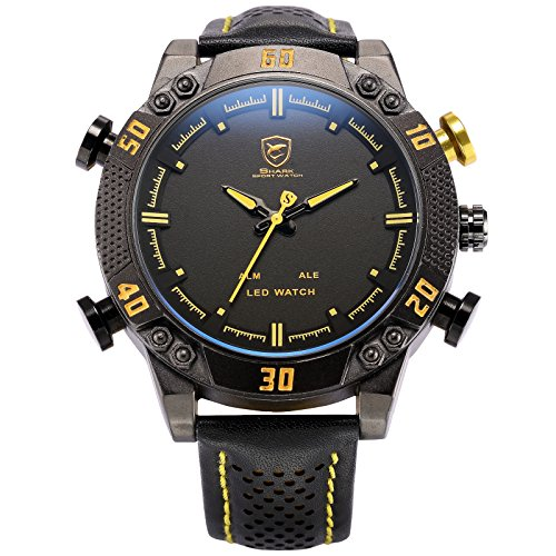 Kitefin Shark Men's LED Date Day Alarm Digital Analog Quartz Black Leather Band Wrist Watch SH263 Yellow