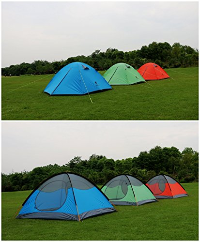 GEERTOP 3-4 Season Tent for Camping 2-3 Person Double Layer Lightweight Backpacking Freestanding Outdoor Hiking Waterproof Backpack Tents - Easy to Set Up 5 【Large Space】Tent size is 83(L) x 71(W) x 47.2(H), with extral vestibule to put the camping gears, luggage; it is a roomy camping travel dome tent with plenty of space for you and a family member or friends; Providing a comfortable and spacious outdoor shelter that comfortably fits 2 man or 3 person 【Waterproof Tent】Geertop 3 season tent - 210D PU5000 mm waterproof Oxford cloth ripstop floor + 210T PU3000 mm anti-tear plaid polyester tent fly while double-sided adhesive waterproof strip seam, ensure water does not make its way into the inside of tent , offer a comfortable camping experience 【Excellent Ventilation 】The camping inner tent made of 210T breathable polyester + high density fine nylon mesh with 2 doors + 2 ventilation windows + 2 vestibule, allowing for greater airflow throughout the tent, avoiding bothered by stuffiness