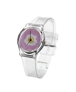Auntwhale Elegant Casual Wrist Watch Women Quartz Watch Transparent Strap for Women Ladies Poached Egg