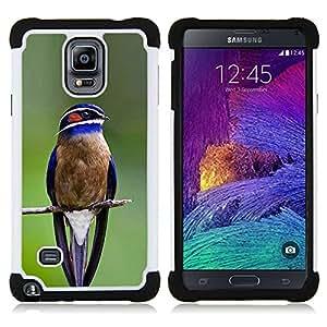 - blue bird songbird green branch feather/ H??brido 3in1 Deluxe Impreso duro Soft Alto Impacto caja de la armadura Defender - SHIMIN CAO - For Samsung Galaxy Note 4 SM-N910 N910