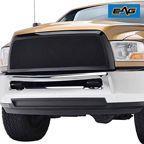 EAG 10-12 Dodge Ram 2500/3500 Mesh Grille Insert Glossy Black Stainless Steel Front Main Upper With ABS Shell (Dodge Ram Inserts Grille)