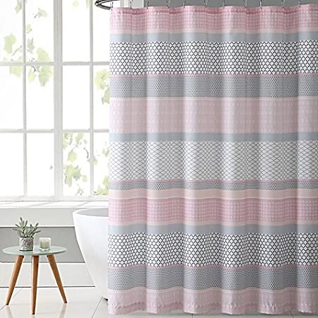 VCNY Home Stockholm Shower Curtain In Pink Grey
