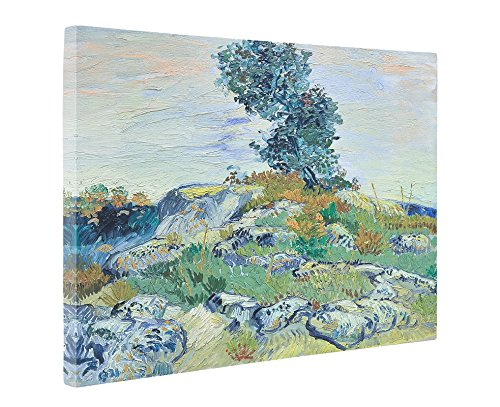 Niwo Art (TM) - Rocks with Oak Tree, by Vincent van Gogh - Oil painting Reproductions - Giclee Canvas Prints Wall Art for Home Decor, Stretched and Framed Ready to Hang (20 x 24 x 1.5 Inch) (Oak Tree Vintage)