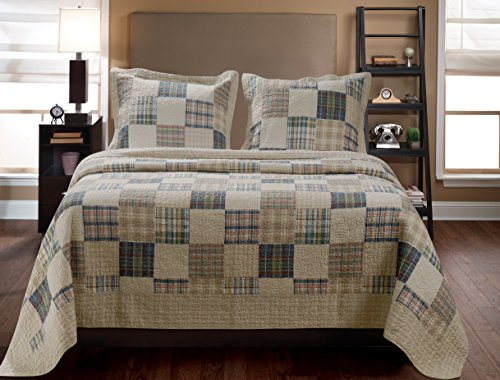 Greenland Home 3-Piece Oxford Quilt Set, Full/Queen, Multicolor (Comforter Plaid Brown)