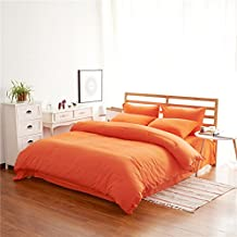 Zhiyuan High Quality Warm Brushed Microfiber Duvet Cover Flat Sheet Pillowcases Set, Twin, Orange