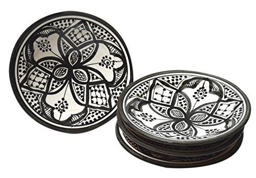 Moroccan Ceramic Plates Handmade Appetizer Tapas Serving Set of Four