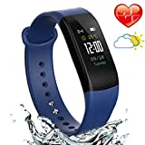Fitness Activity Tracker with Heart Rate Monitor - Blood Pressure Monitor Smart Bracelet - Water Resistant Pedometer Alarm Sleep Monitor Smart Wristband with Weather Forecast for Men Women(Black)