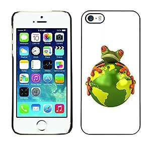 Cubierta de la caja de protección la piel dura para el Apple iPhone 5 / 5S - planet earth environment warming global frog