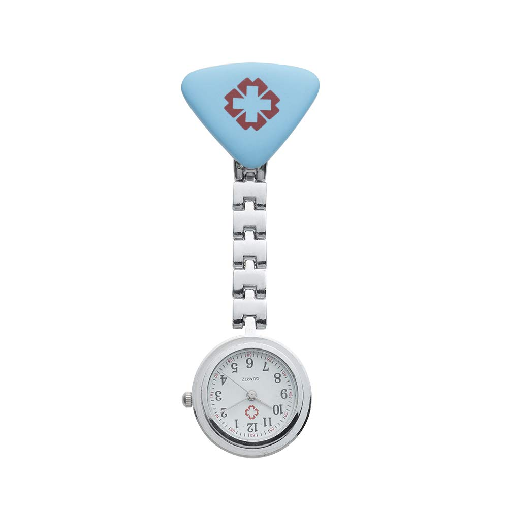 Cross Nurse Brooch Hanging Pocket Watches Quartz Watch Fob Doctor Watches Battery Powered Hanging Pocket Watch (Blue)