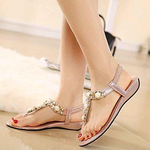 Ama (tm) Donne Sandali Di Cristallo Casuali Per Lestate Sandali Infradito Sandali Da Spiaggia Rosa