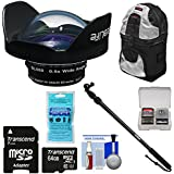 Sealife SL050 0.5X Wide Angle Dome Lens DC2000 Camera Adapter Ring + 64GB Card + Underwater Monopod Extension Pole + Backpack Case + Kit