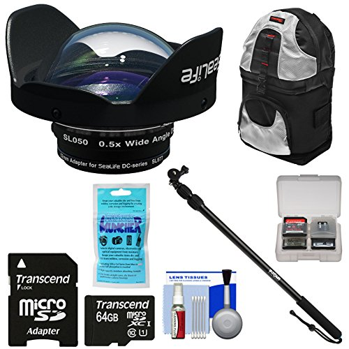 Sealife SL050 0.5X Wide Angle Dome Lens for DC2000 Camera with Adapter Ring + 64GB Card + Underwater Monopod Extension Pole + Backpack Case + Kit