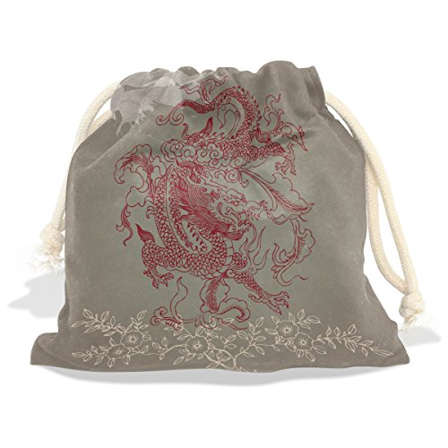 Marionette Puppet Costume Ideas (Chinese Dragon Velvet Drawstring Gift Bag Wrap Present Pouches Favor for Jewelry, Coin, Holiday, Birthday, Party)