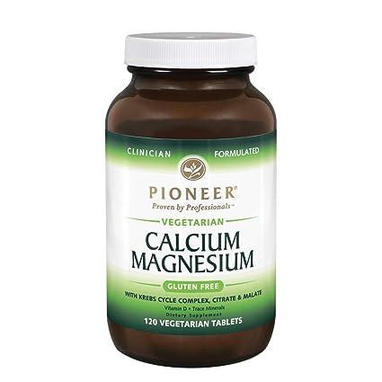 El magnesio calcio, 120 Tabs Veggie - Pioneer nutricional Fórmulas