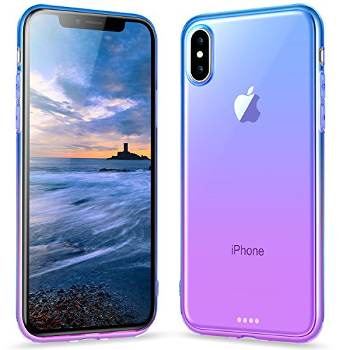 Ansiwee Compatible with iPhone 10 and iPhone X Gradual Colorful Edge Slim Case Lightweight Cover Thin Fit Protective Shell Flexible Shock Soft Rubber Bumper Case for iPhone 10/X 5.8 inch (Blue Purple)