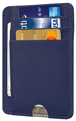 - HOTCOOL Front Pocket Minimalist Leather With RFID Blocking Card Holder Wallet for Men & Women, Cross Navy Blue