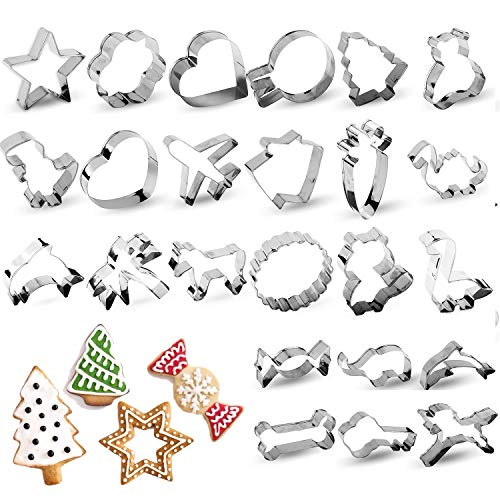 RUCKAE Cookie Cutters Set24PieceCartoon Cookie Cutters Biscuit Mould for DIY Baking Cake Craft Pastry Bakeware Decoration