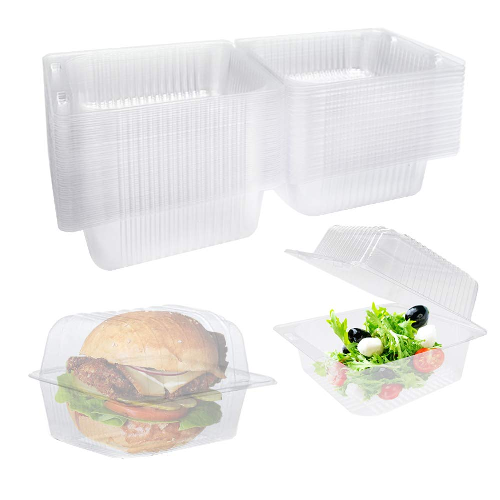 50 Pcs Clear Plastic Hinged Food Container,Take Out Containers Disposable Clamshell Food Cake Containers with Lids for Salads,Hamburger, Sandwiches(5x4.7x2.8 in)